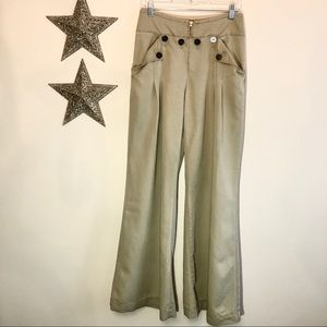 Anthropologie Elevensies Sailor Buttons Wide Leg